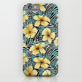 Yellow Hibiscus with Zebra Stripes iPhone Case