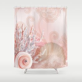 SEASHELL DREAMS | pink Shower Curtain