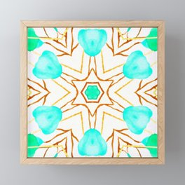 teal trend geometric Framed Mini Art Print