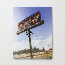 Blue Fox Drive In Metal Print