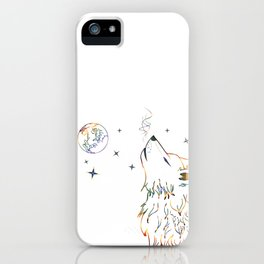 Wolf howling on moon sketch iPhone Case