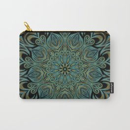 Teal and Gold Mandala Swirl Carry-All Pouch