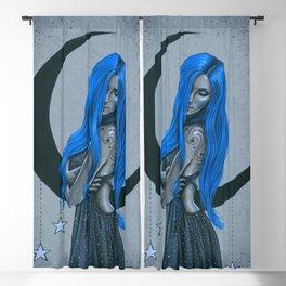 Blue Moon Celestial Fantasy Art Blackout Curtain