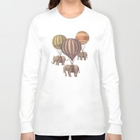 vintage flowers Long Sleeve T-shirts featuring Flight of the Elephants  by Terry Fan