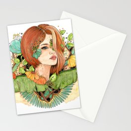 The lady of the forest tropical flowers redhead girl Stationery Cards