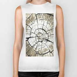 Tree Stump In Pale Grey Monotone Biker Tank