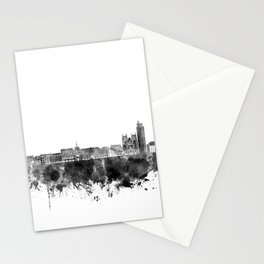 Nantes skyline in black watercolor on white background Stationery Cards