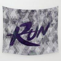 run Wall Tapestries featuring Run by Abner Melara