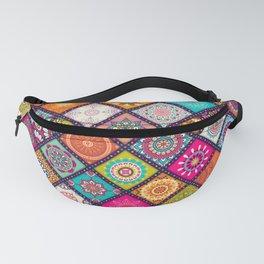 Colorful Bohemian Boho Chick Spanish Tile Tapestry Design Fanny Pack