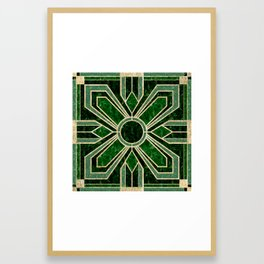 Art Deco Floral Tiles in Emerald Green and Faux Gold Framed Art Print