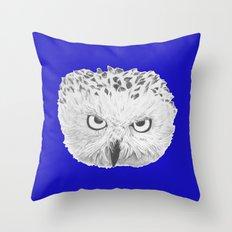 Snowy Owl Bright Blue Throw Pillow
