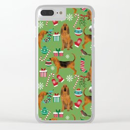 Bloodhound christmas candy canes and snowflakes holiday dog breed gifts Clear iPhone Case
