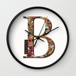 Floral monogram B - BEAUTY, Lo Lah Studio Wall Clock