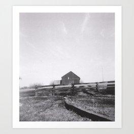 Barn on hill, behind fence Art Print