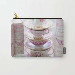 Shabby Chic Pink White Cottage Teacups Paris Pink Books Wall Art Home Decor Carry-All Pouch