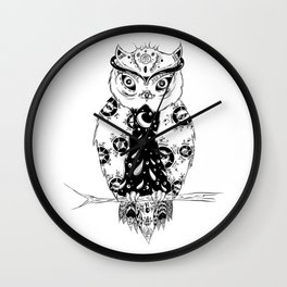 Night Astral Owl Wall Clock
