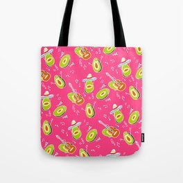 Funny summer modern avocado guacamole cartoon music band pattern illustration Tote Bag