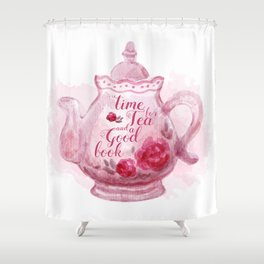 Time for tea and a good book Shower Curtain