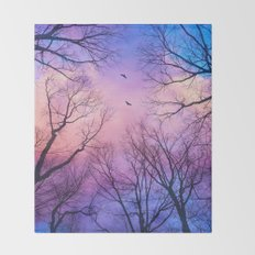 A New Day Will Dawn  (Day Tree Silhouettes) Throw Blanket