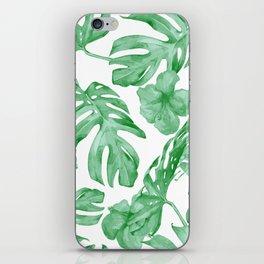 Tropical Island Leaves Green on White iPhone Skin