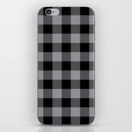 Buffalo Plaid - Black and Grey iPhone Skin