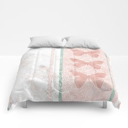 Snow White Peach Butterfly Abstract Pattern Comforters
