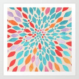Radiant Dahlia - teal, orange, coral, pink watercolor pattern Art Print