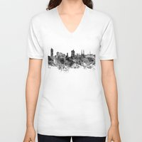 vienna V-neck T-shirts featuring Vienna skyline in black watercolor by Paulrommer