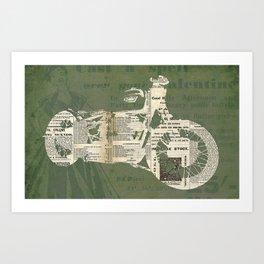 Motorcycle on newspaper, news collage art, decoration man cave, bike cut art Art Print