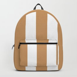 Brown Yellow - solid color - white vertical lines pattern Backpack
