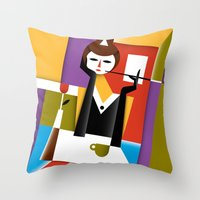 breakfast Throw Pillows featuring Breakfast by Szoki