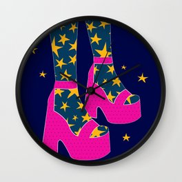 Boogie Wonderland // Pink, Fun, Shoes, Stars, Girly Wall Clock