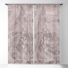 Green Tropical Palm Garden Jungle Island in Vintage Purple Sheer Curtain