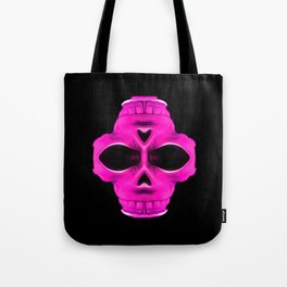 pink psychedelic skull portrait with black background Tote Bag