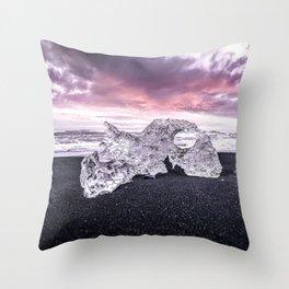 Basalt Beach, Jökulsárlón - Iceland Throw Pillow