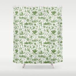 """Zelda """"Hero of Time"""" Toile Pattern - Kokiri's Emerald Shower Curtain"""
