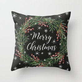 Merry Christmas wreath with berries and snow on the black Throw Pillow