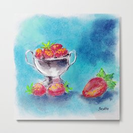 Juicy, appetizing strawberry in a vase on a blue background Metal Print