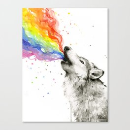 Wolf Howling Rainbow Watercolor Canvas Print