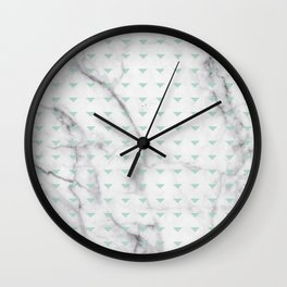White Marble Abstract Mint Green Triangle Patten Wall Clock