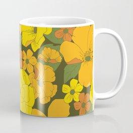 Orange & Yellow Lilies Retro Floral Pattern Coffee Mug