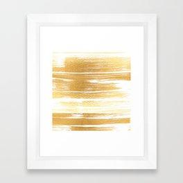 Abstract faux gold white modern paint brushstrokes Framed Art Print