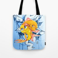 bucky Tote Bags featuring Bucky & Ace by Paz Art