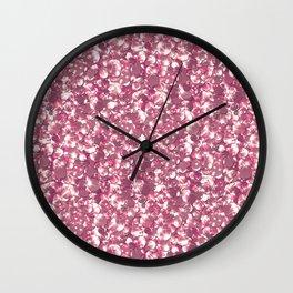 Pink confetti. Festive design. Wall Clock