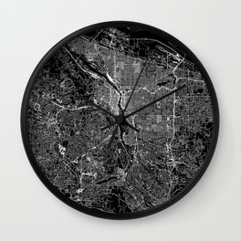 Portland Black Map Wall Clock