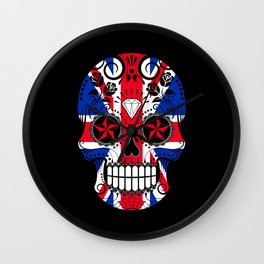 Sugar Skull with Roses and the Union Jack Flag Wall Clock