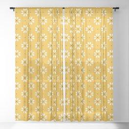 Daisy stitch - yellow Sheer Curtain