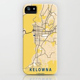 Kelowna Yellow City Map iPhone Case