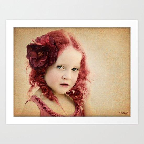 Mila as a Vintage Rose Art Print