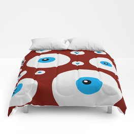All eyes on you - lots of blue eyes in red background Comforters